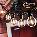 25ft Weatherproof  Globe String Festoon Lights with 25 Clear Bulbs G40, Indoor/ Outdoor Use, Perfect for Patio, Garden, Homes, Wedding,Cafe, Events,Party Decoration (Include 3 Spare Bulbs)