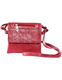 Rags Style Women's Leather Sling Bag In Red, Black, Blue (Casual/Formal)
