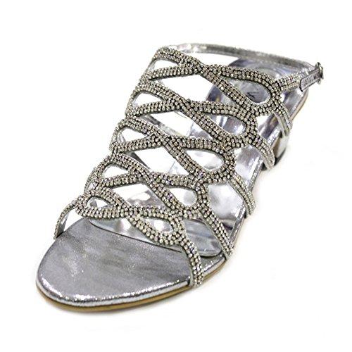 W & W femmes Mesdames Diamante antidérapant sur bloc talon Chaussures de mariage mariée soirée sandales empilables–10(RIVO) silver