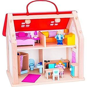 Goki- Juegos de acción y reflejosJuegos de miniaturasGOKIMaleta Casa de muñecas con Accesorios, Multicolor (1)