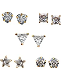 Zephyrr Fashion Gold Plated Stud Earrings White Zirconia American Diamond Set Of 5