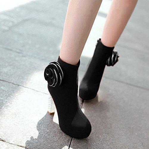 Mee Shoes Damen Reißverschluss high heels inner Plateau Stiefel Schwarz