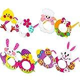 4 Stücke Ostern Brillen DIY Handwerk Kostüm Brille Papier Chicken Bunny Ei Schafe Brillen für Party Lieferungen, 4 Stile