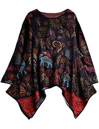 SEWORLD 2018 Damen Mode Sommer Herbst Frauen Schal Drucken Lose Plissierte 3/4 Ärmel O-Ausschnit Vintage Blusen