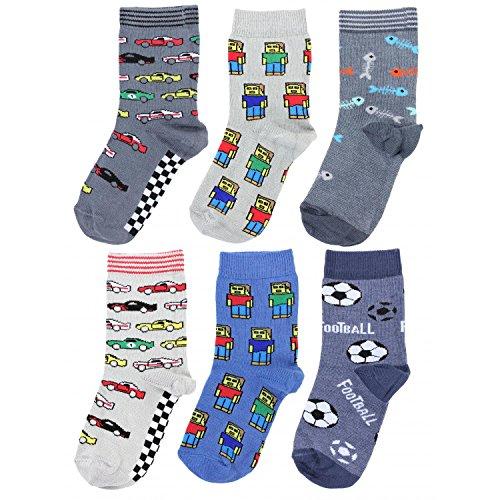 TupTam Unisex Kinder Socken Bunt Gemustert 6er Pack, Farbe: Junge 5, Größe: 23-26