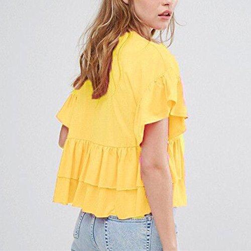 WOCACHI Damen Sommer T-Shirts Mode Frauen Niedliche Prinzessin Style Kurzarm O-Neck Lotus Blatt Saum Gelb T-Shirt Tops Gelb