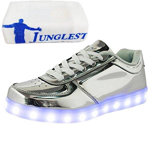 [Present:kleines Handtuch]JUNGLEST® Unisex Frauen Männer USB Lade LED leuchten Glow Schuhe Luminous American Star Flagge Freizeitschuhe c18