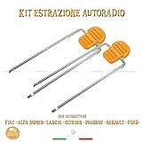 Kit de 2 llaves con asas para la extracción de la radio en vehículos