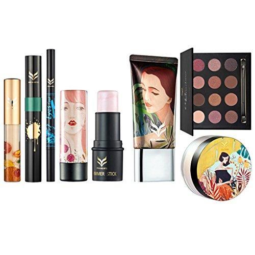 Sharplace 8pcs Kit Outils de Maquillage Palette Ombre à Paupières Shimmer Mat + Rouge à Lèvres/Lipstick + Poudre de Fixation + Crème Fondation + Stylo Sourcils/Eye Liner + Mascara + Correcteur