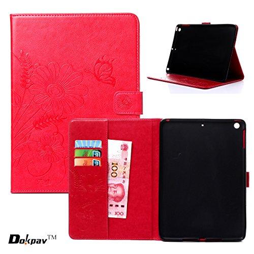 Apple iPad Air Custodia, Dokpav® Ultra Slim Sottile PU Materiale Case Cover per Apple iPad Air Con interni Scivolare Tasche per Carte - Rosa rouge