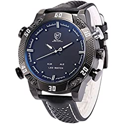 Shark Men's LED Date Day Alarm Digital Analog Quartz Sport Black Leather Band Wrist Watch SH264 White