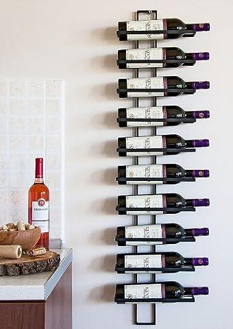 Dies Wall-Mounted Metal Wine Rack Bottle Stand for Ten Bottles 116 cm