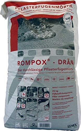 ROMPOX - DRAEN 2K-Epoxidharz Pflasterfugenmörtel 26,8 kg - neutral Fuellstoff 25 kg Harz-Haerter 1,8 kg - 2-Komponenten-Epoxidharz Pflasterfugenmörtel für Fußgängerbelastung