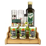 WEINLAND®️ 3-stufiges ausziehbares Gewürzregal - Bambus Spice Rack zum Aufbewahren von Gewürzdosen - Praktischer Gewürzständer in einzigartigem Design - Küchenregal Küchenorganizer