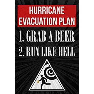 11 x 17 cm Hurricane Evakuation Plan 1 Grab A Beer 2 Run Like Hell Print Running Man with Beer from Hurricane Warnschild Bild Trinken Spaß Lustig Humor Bar Wanddekoration Poster