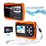 Wasserdichte Kamera für Kinder, Kinderkamera Wasserdicht bis 3 Meter Digitalkamera mit 4x Digitaler Zoom/ 12MP HD Fotos/ 720P HD Videofunktion/ 5 MP CMOS Sensor/ 2