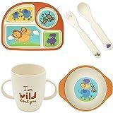 Kinder Geschirr Set, Baby Geschirr Bambus Set Spülmaschinenfest, Sicher und Geschenk Set Kinderbesteck BPA Frei Kindergeschirr-Set Löwe