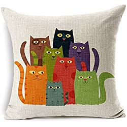 Poens Dream Funda de Coj'n, Seven Colors Cat Art Cotton Linen Decorative Throw Pillow Case Cushion Cover, 17.7 x 17.7inches