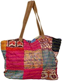 Indistar Women'S Vintage Handmade Kantha Work Tote Hand Bag