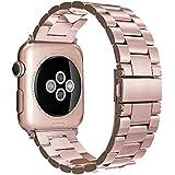 Simpeak Correa para Apple Watch Series 2 / Series 1 Correa 38mm Correa de Acero Inoxidable Reemplazo de Banda de la Muñeca con Metal Corchete para Apple Watch Todos los Modelos 38mm