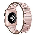 Simpeak Bracelet Compatible avec Apple Watch 38mm/40mm Métal Fermoir en Acier...