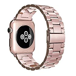 For Apple Watch Strap 38mm, Simpeak Stainless Steel Band Strap For Apple Watch 38mm Series 1 Series 2 Series 3 - Rose Gold