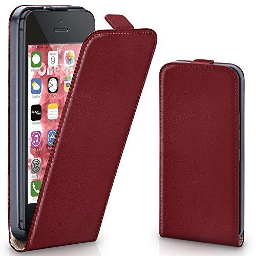 iPhone 5S Hülle Dunkel-Rot [OneFlow 360° Klapp-Hülle] Etui thin Handytasche Dünn Handyhülle für iPhone 5/5S/SE Case Flip Cover Schutzhülle Kunst-Leder Tasche MAROON-RED