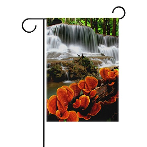 LIANCHENYI cascata con Lucid Ganoderma doppio Family bandiera poliestere Bandiera Outdoor Home party Decro Garden Flag 12x 18in, poliestere, Multi, 28x40(in)