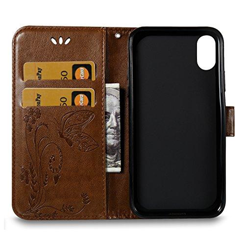 Custodia Per iPhone X, Slynmax Custodia Portafoglio [Cinturino da polso] [Chiusura Magnetica] [Funzione Stand] Modelli A Farfalla in Pelle Stampata in Pelle Con Custodia Di Protezione Completa Con Slo Caffè