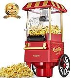 Macchina per Pop Corn, Aicook 1200W Retro Macchina Popcorn Compatta ad aria calda senza grassi, Operazione con Un Pulsante, Rosso