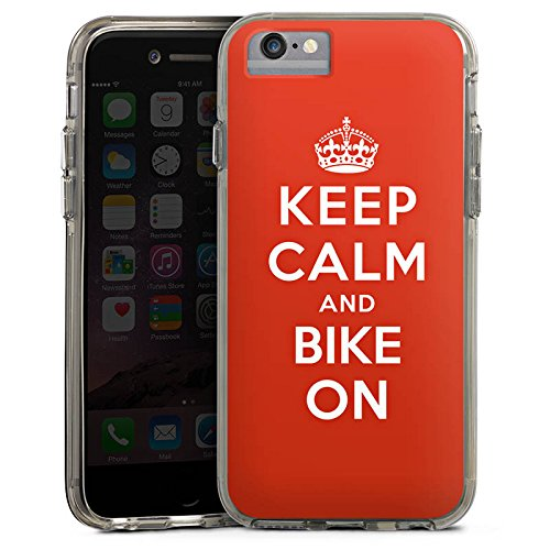 Apple iPhone 6 Plus Bumper Hülle Bumper Case Glitzer Hülle Keep Calm Biker Motorrad Bumper Case transparent grau