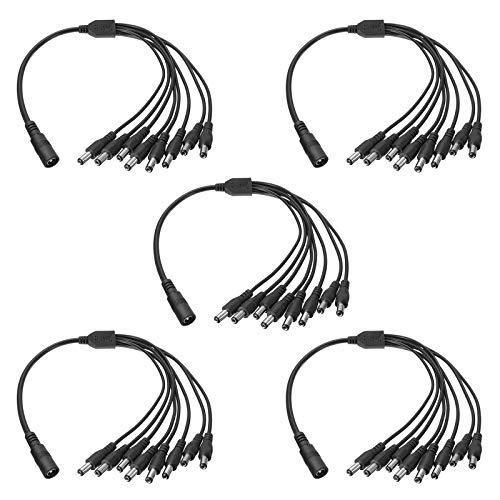 5 Stck DC Power Splitter Kabel, 5,5 mm x 2,1 mm Kamera Splitter Kabel für Sicherheitskameras (1 Buchse zu 8 Stecker) (8 Split-power-kabel)