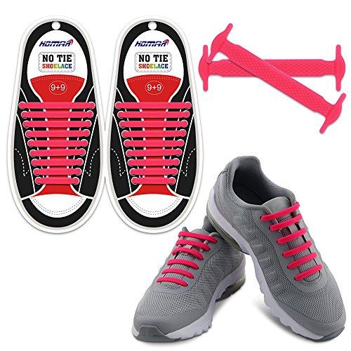 Homer No Tie Shoelaces in 13 Farben für Kinder und Erwachsene Elastische Schnürsenkel Schalten Sie Ihre Schuhe in Einem Slip-On Perfekt für Sneaker Stiefel Oxford - Pink Regen Stiefel Lila Mädchen