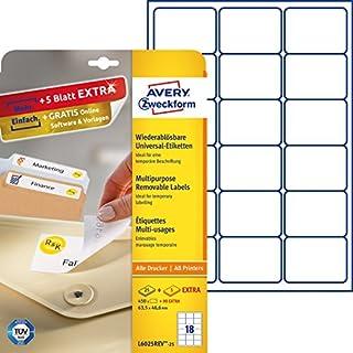 AVERY Zweckform L6025REV-25 Etiketten (A4, 450 Plus 90 Universal-Etiketten extra, ablösbar, 63,5 x 46,6 mm, 30 Blatt) weiß