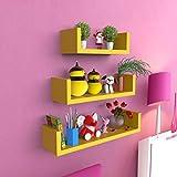 Onlineshoppee MDF artesanía decoración de la Pared-en Forma de U estantería de Pared (3Unidades), Color Amarillo