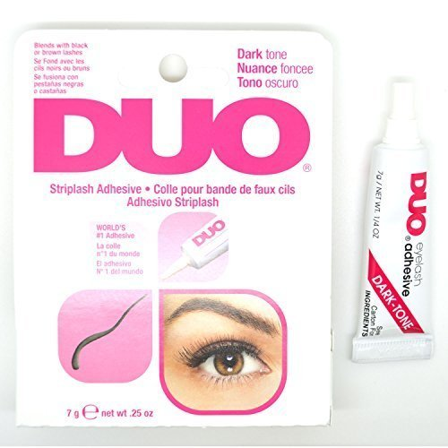 1 DUO DARK TONE STRIPLASH ADHESIVE GLUE WATERPROOF EYELASHES EYE LASH 240593 + FREE EARRING by Duo