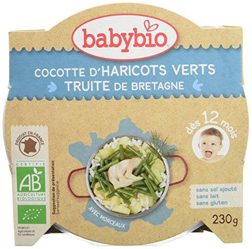 Babybio Assiette Cocotte de Haricots Verts du Val de Loire/Truite 12+ Mois 230 g - Lot de 5