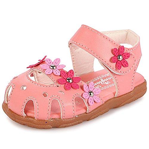 katliu Geschlossene Sandalen Mädchen Lauflernschuhe Klettverschluss Leicht Kinderschuhe Outdoor Weich Sommer Schuhe für Baby Kinder, 19 EU, Pink (Herstellergröße  21)
