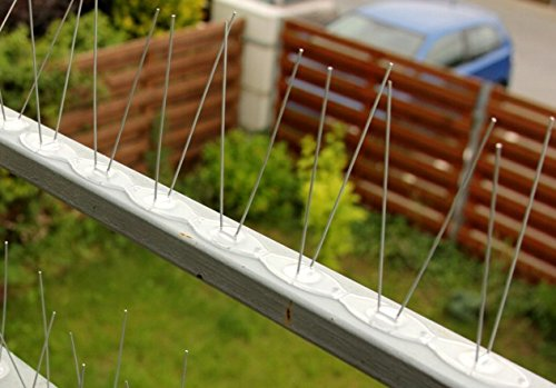 2 rangées de pics anti-oiseaux, 34 cm x 60-110 mm, en acier inoxydable
