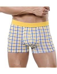 XUBA Men's Sexy Trunks Comfy Cotton Shorts Plaid Underwear Yellow Blue S