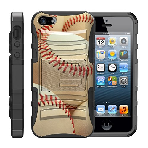 turtlearmor | Kompatibel für Apple iPhone SE Fall | iPhone 5/5S Fall [Hyper Schock] Armor Massiv Ständer Auswirkungen Silikon Holster Clip Sport Video Spiele Design -, Pile of Baseballs Baseball-mobile