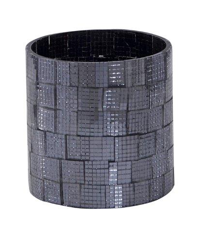 Homescapes – Photophore Mosaïque en Verre – Noir – 8 x 8.5 cm – Base en Verre et en Acier Poli – Bougeoir Bougie Chauffe-plat ou Bougie Pilier