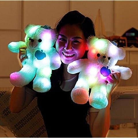 Wewill Marca Adorable LED encender hasta el oso de peluche de brillo de mascotas, oso de peluche pequeños juguetes de peluche, relleno de juguete de peluche con luz de LED de colores, regalos de juguete de peluche para los niños, 15