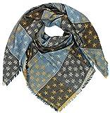 Mevina XXL Damen Halstuch Stern Dreieck Sterne goldener Faden groß quadratisch Schal Karo Muster Oversized