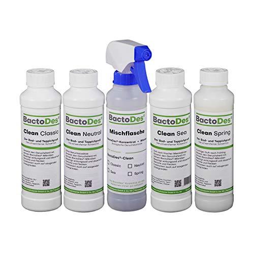BactoDes-Clean Spezialreiniger & Geruchskiller Kennenlern Set | NEUTRAL Spring SEA Classic - Für Teppich-reiniger Katzenurin