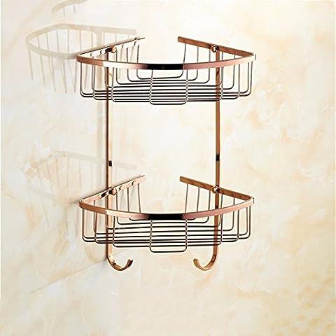 STAZSX Étagères de continental triangle d'or rose panier panier douche angle normes étagère, cuivre de salle de bain baignoire or antique