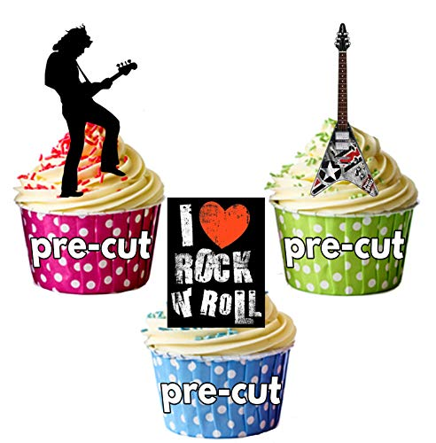 Rock Star und Gitarren-essbar Stand-up Cupcake Topper (Pack von 12) ()