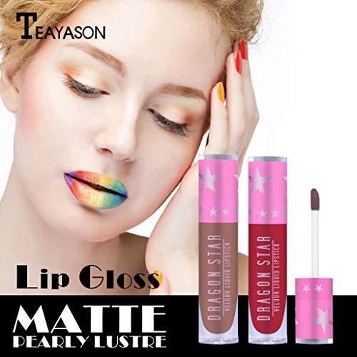 99native TEAYASON Matte Lippenstift, langer halt Feuchtigkeitsspendender und pflegender Lippenstift, Wasserfest, Farbecht Samt Liquid Lippenstift (G) -