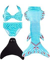 ShePretty Mädchen Meerjungfrauenschwanz Bikini Set Zum Schwimmen mit Meerjungfrau Flosse Badeanzüge Prinzessin Cosplay Kostüm
