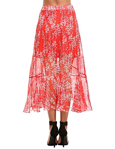 Chigant Damen Elegant Sommerrock Chiffon Asymmetrisch Midi Blumen Rock Transparent Strandrock Rot